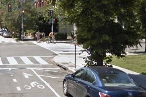 Painted R Street NW bicycle lane near 15th Street NW (Photo via Google Maps)