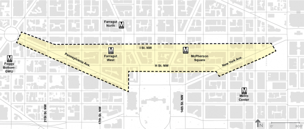 West downtown planning study map; photo courtesy of DDOT