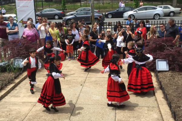 """Dancers perform at the Former Residence of the Ambassadors of Spain (2801 16th St. NW) as part of """"Shortcut to Europe"""" (Photo via Twitter/ Embassy of Spain US)"""