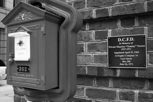 Fire box memorial downtown, photo via DC Fire and EMS