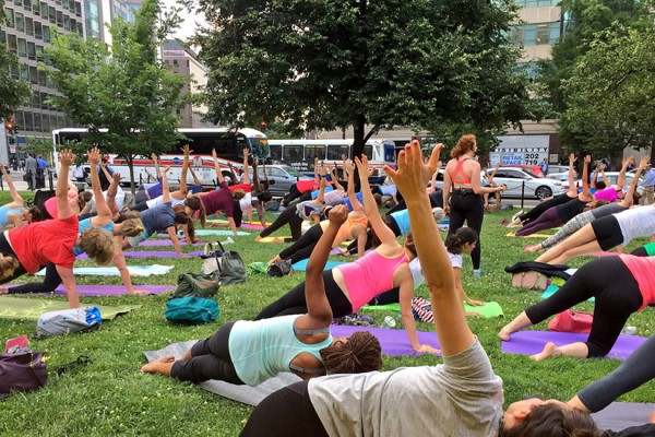 Yoga in Farragut, photo courtesy of Golden Triangle BID