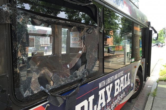 The collision shattered a window
