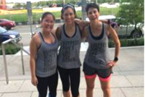 Yards boot camp Instructor Kelly Moyers with two of her boot camp champs