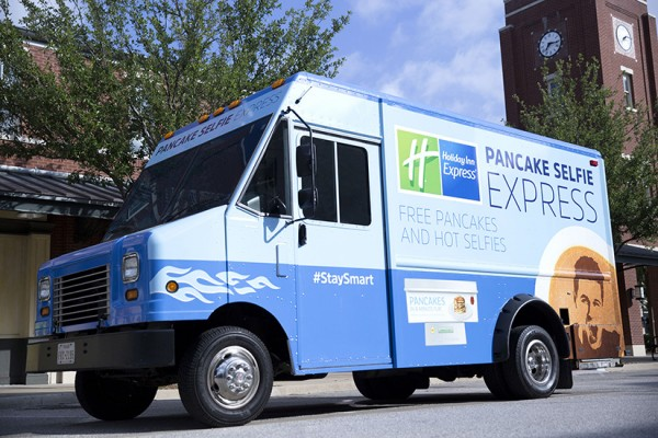 Pancake selfie truck, photo via Holiday Inn Express