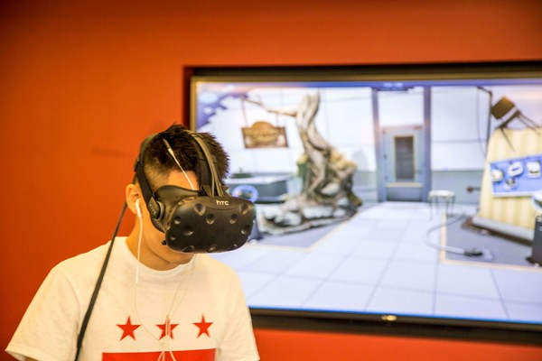 VR headset in use (Photo courtesy of Notion Theory)