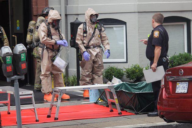 The powder was determined not hazardous around 4:15 p.m.