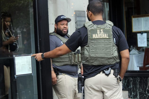 The U.S. Marshals Service helped enforce the eviction