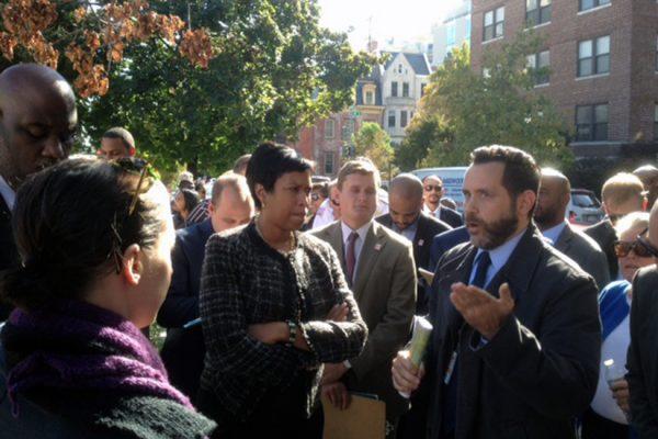 Mayor Bowser at community walk in Logan Circle, Oct. 11, 2016